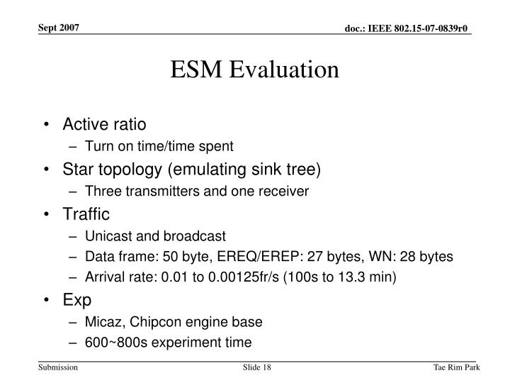 ESM Evaluation