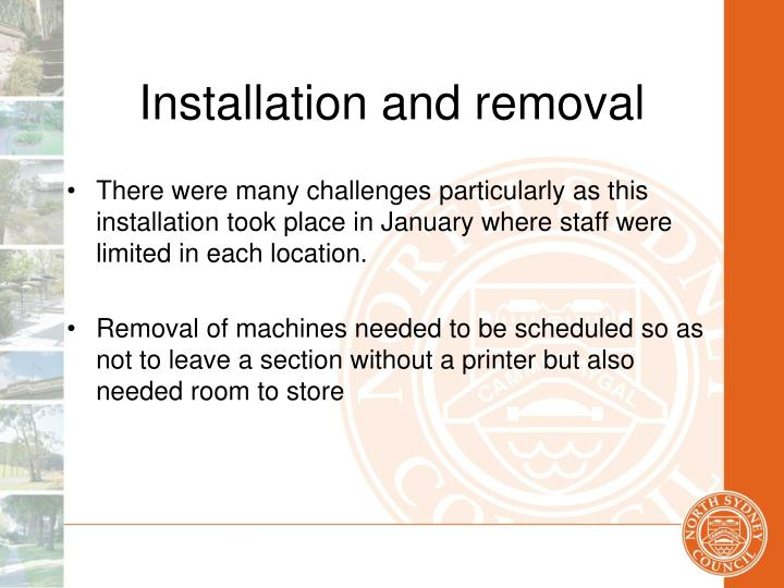 Installation and removal