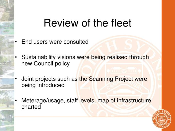 Review of the fleet