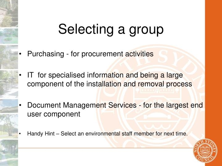 Selecting a group