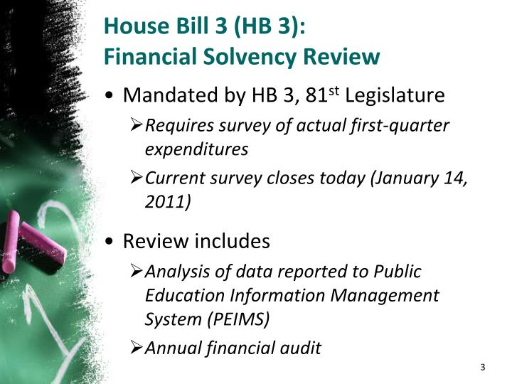 House bill 3 hb 3 financial solvency review