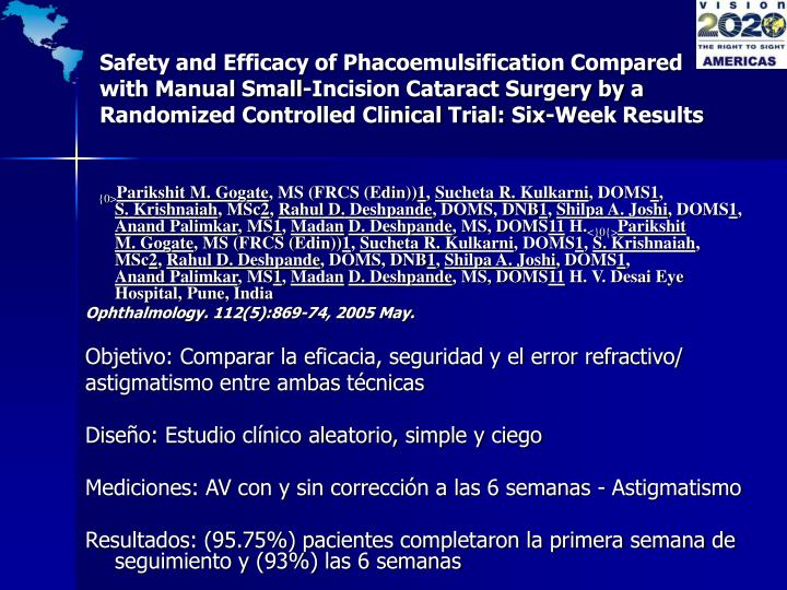 Safety and Efficacy of Phacoemulsification Compared with Manual Small-Incision Cataract Surgery by a Randomized Controlled Clinical Trial: Six-Week Results