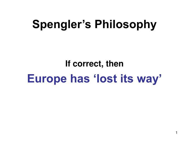 spengler s philosophy n.