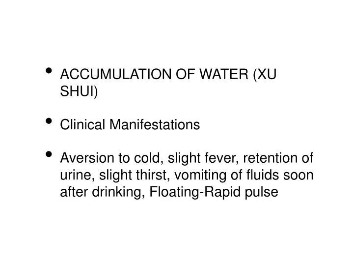 ACCUMULATION OF WATER (XU SHUI)