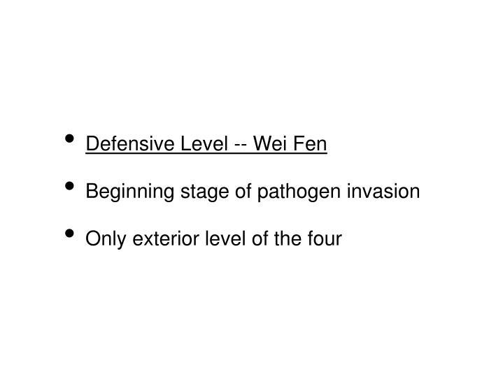 Defensive Level -- Wei Fen