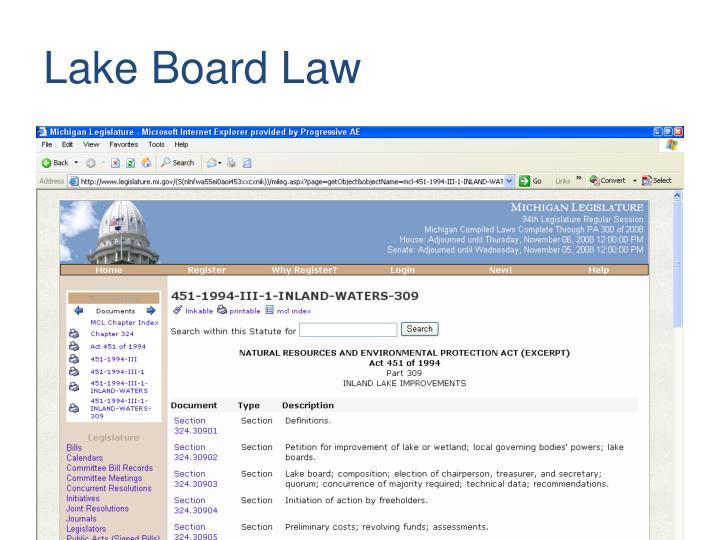 Lake board law
