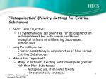 categorization priority setting for existing substances