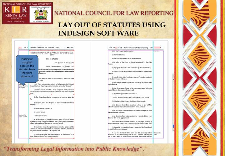 LAY OUT OF STATUTES USING INDESIGN SOFT WARE