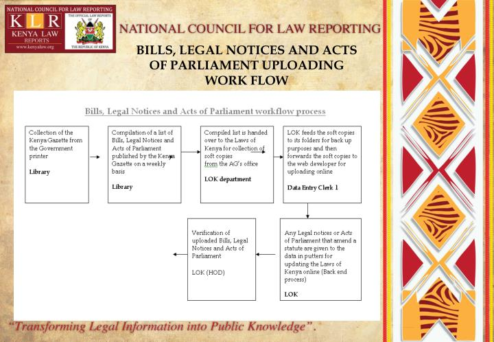 BILLS, LEGAL NOTICES AND ACTS OF PARLIAMENT UPLOADING WORK FLOW