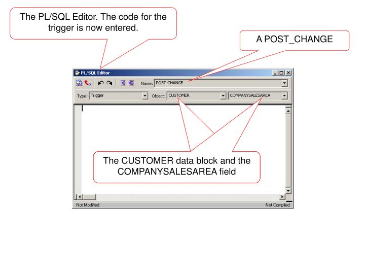 The PL/SQL Editor. The code for the trigger is now entered.
