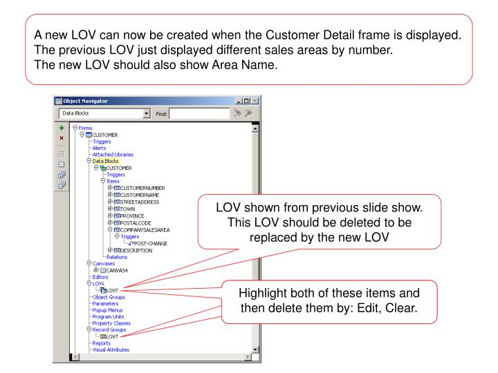A new LOV can now be created when the Customer Detail frame is displayed.