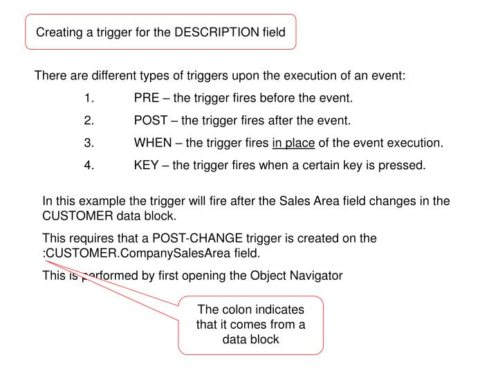 Creating a trigger for the DESCRIPTION field