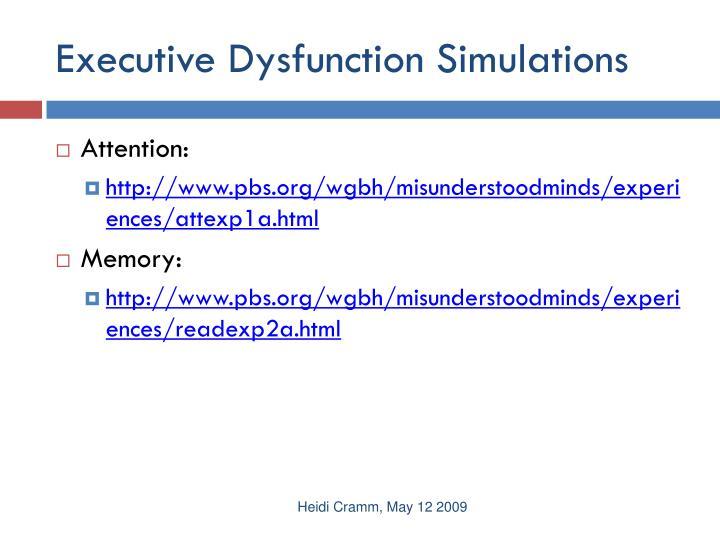 Executive Dysfunction Simulations