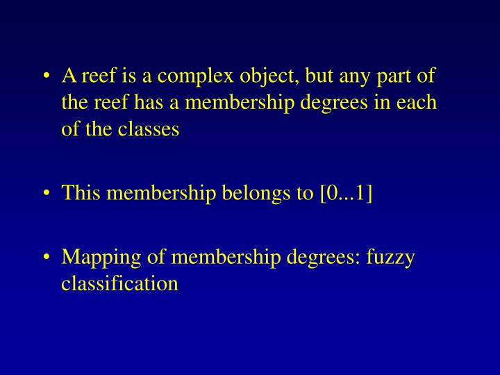 A reef is a complex object, but any part of the reef has a membership degrees in each of the classes