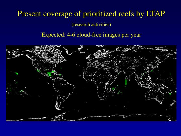 Present coverage of prioritized reefs by LTAP