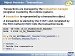 object services transactions