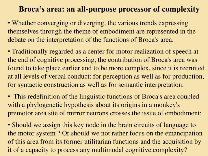 Broca's area: an all-purpose processor of complexity