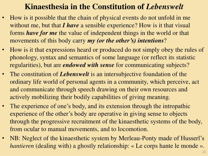 Kinaesthesia in the Constitution of