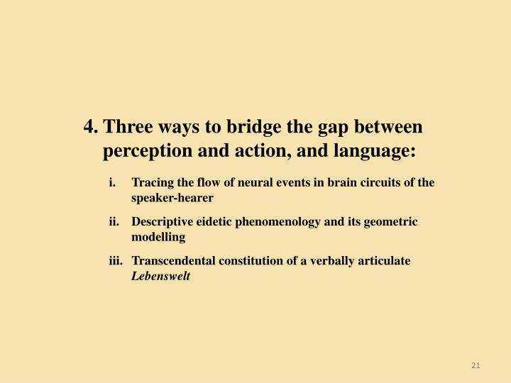 Three ways to bridge the gap between perception and action, and language: