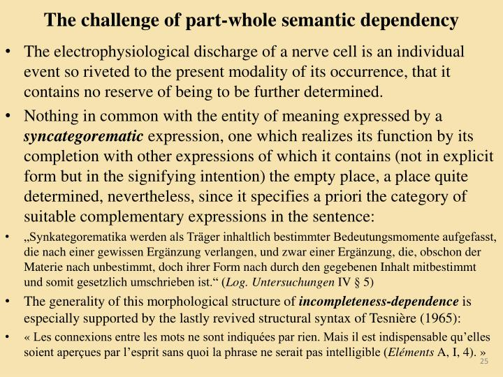 The challenge of part-whole semantic dependency