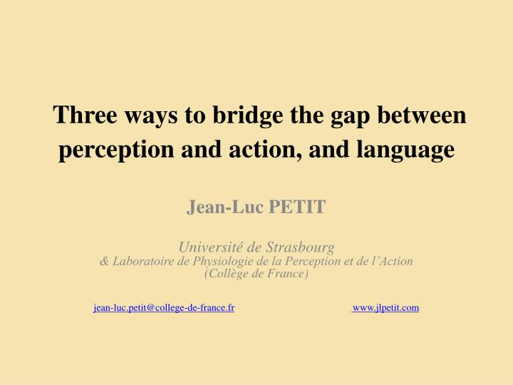 Three ways to bridge the gap between perception and action and language