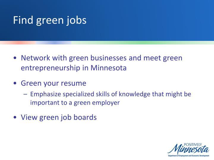 Find green jobs
