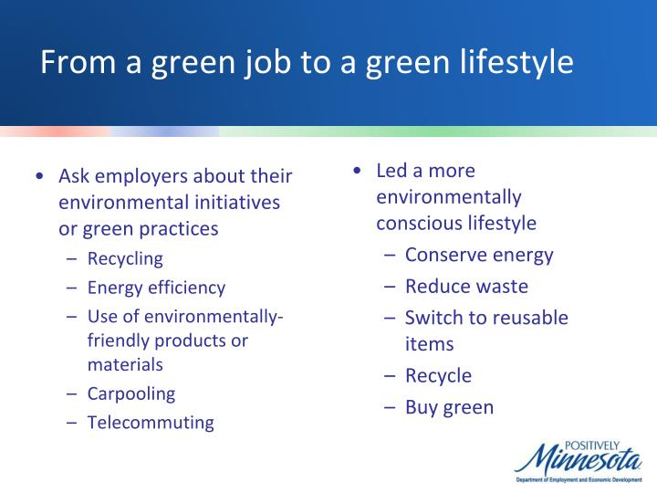 From a green job to a green lifestyle
