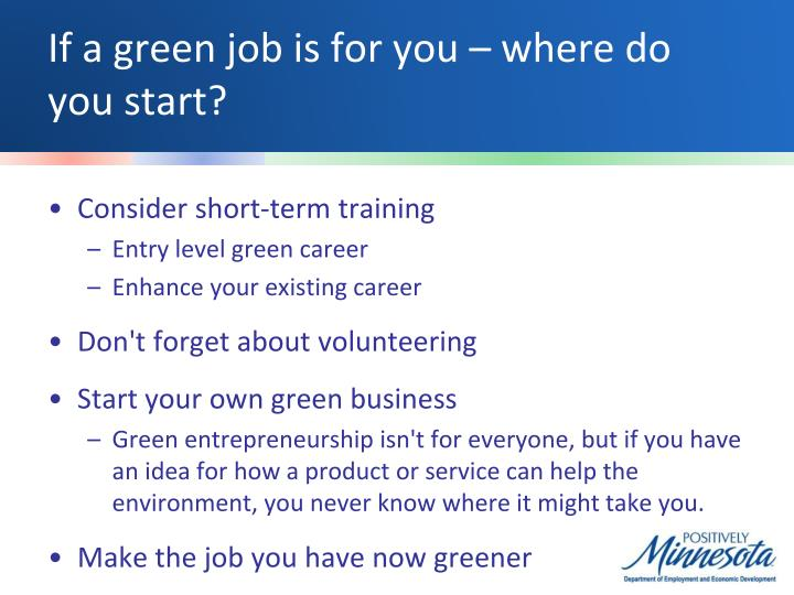 If a green job is for you – where do you start?