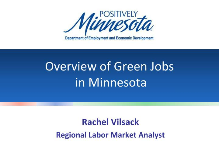 Overview of green jobs in minnesota