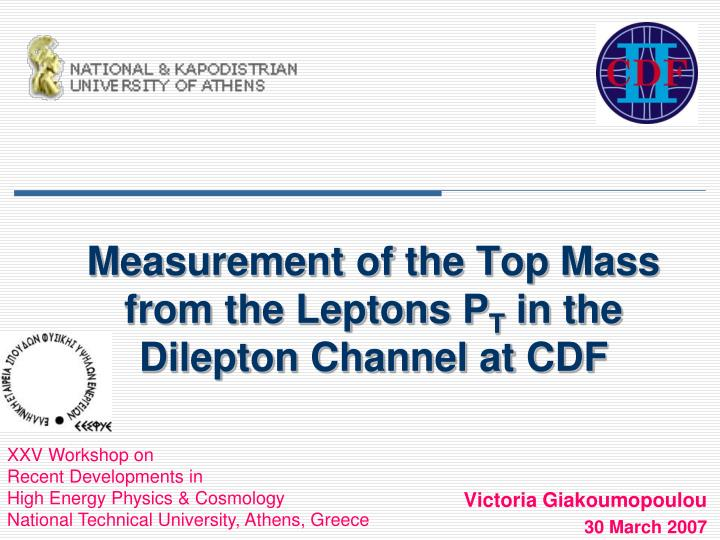 Measurement of the top mass from the leptons p t in the dilepton channel at cdf