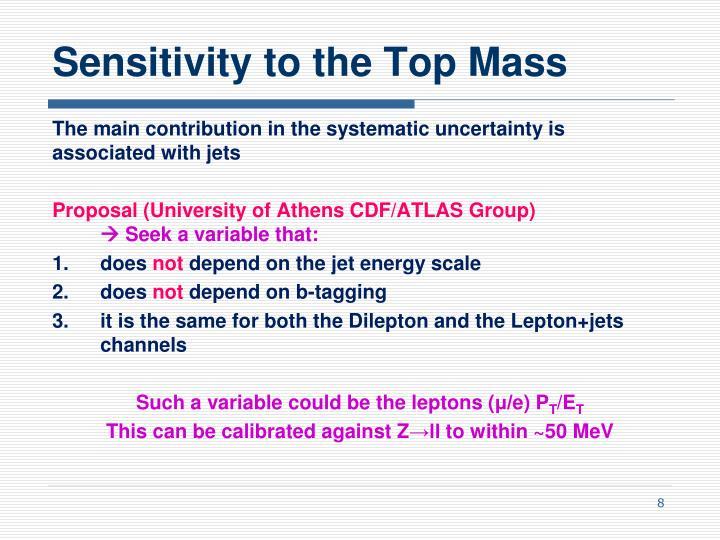 Sensitivity to the Top Mass