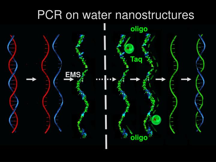 PCR on water nanostructures
