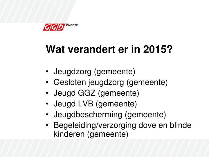 Wat verandert er in 2015?