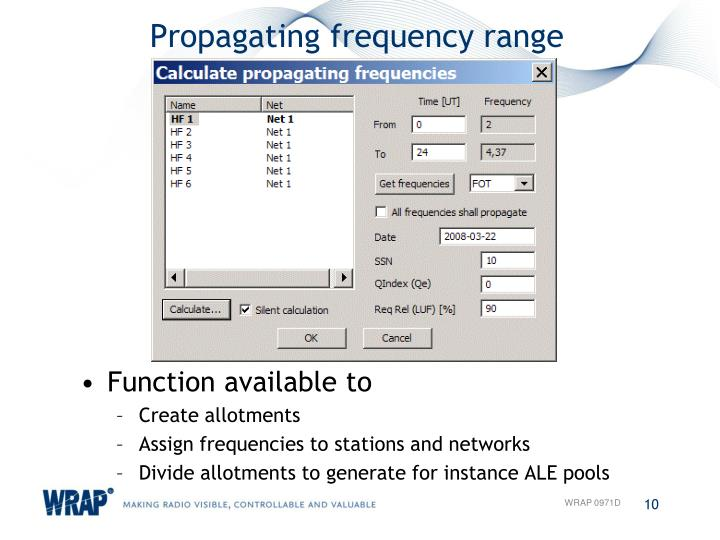 Propagating frequency range