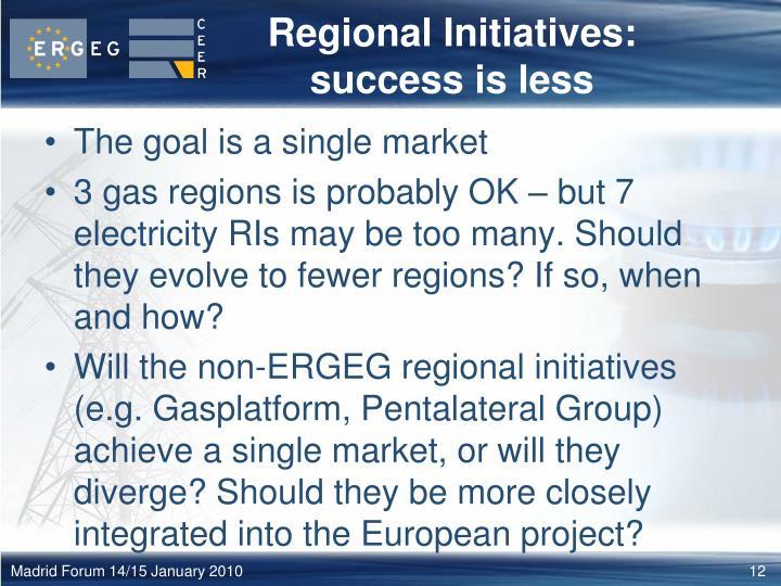 Regional Initiatives: success is less