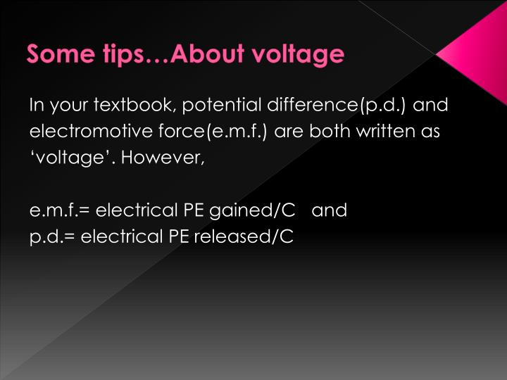 Some tips…About voltage