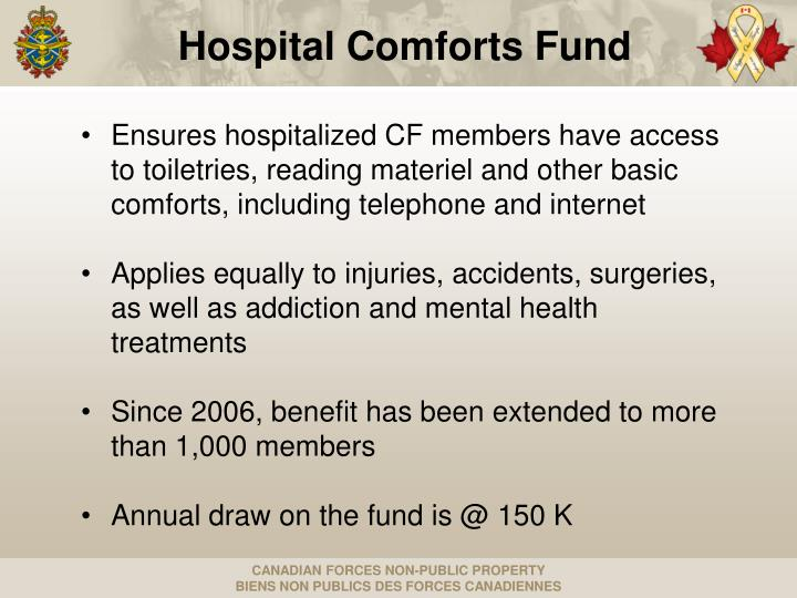 Ensures hospitalized CF members have access to toiletries, reading materiel and other basic comforts, including telephone and internet