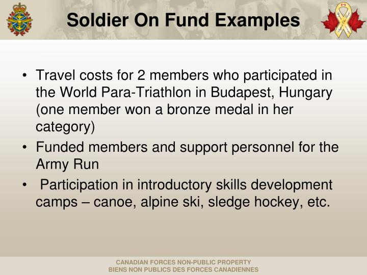 Soldier On Fund Examples