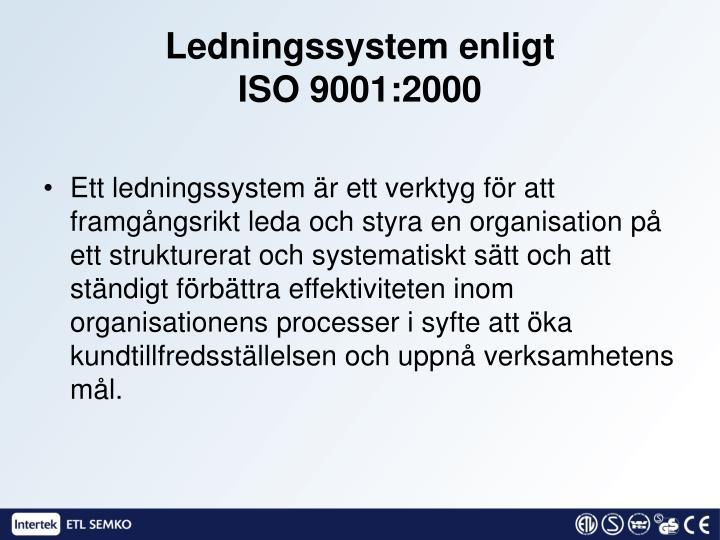 Ledningssystem enligt