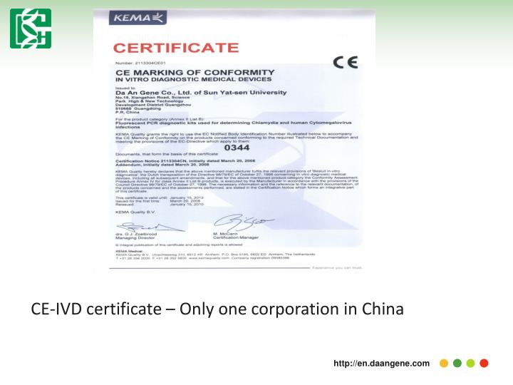 CE-IVD certificate – Only one corporation in China