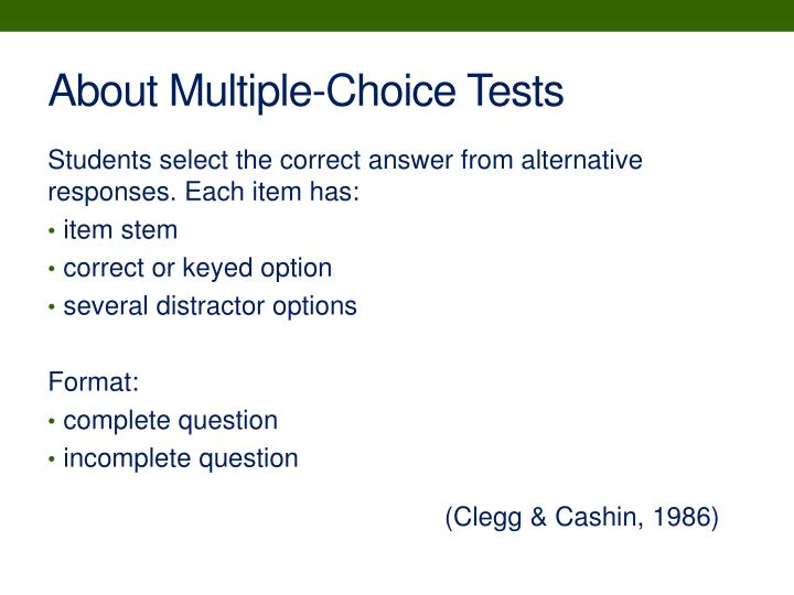 About Multiple-Choice Tests
