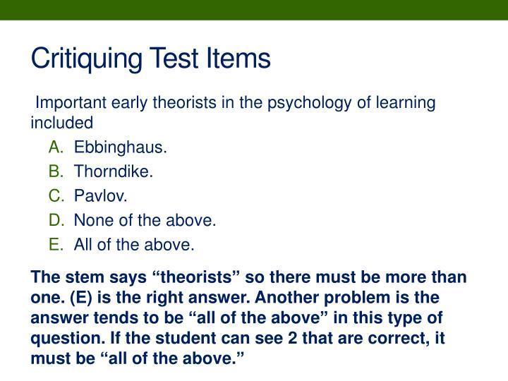 Critiquing Test Items
