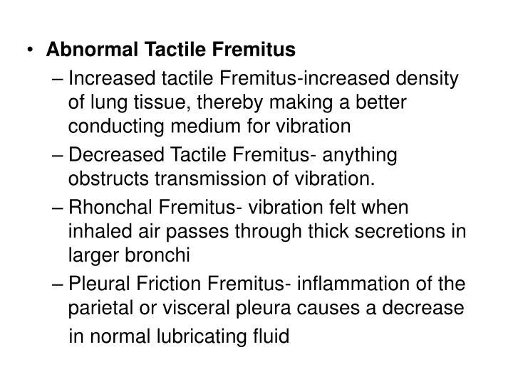 Abnormal Tactile Fremitus