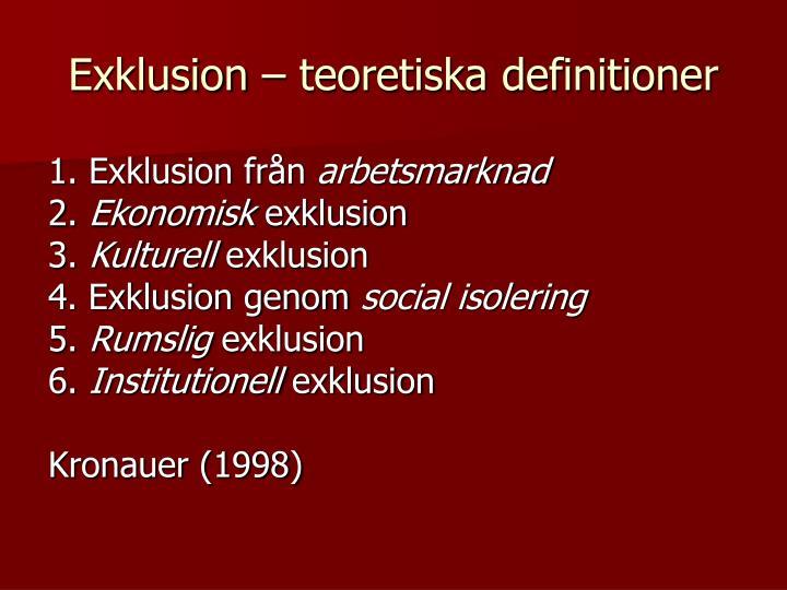 Exklusion – teoretiska definitioner