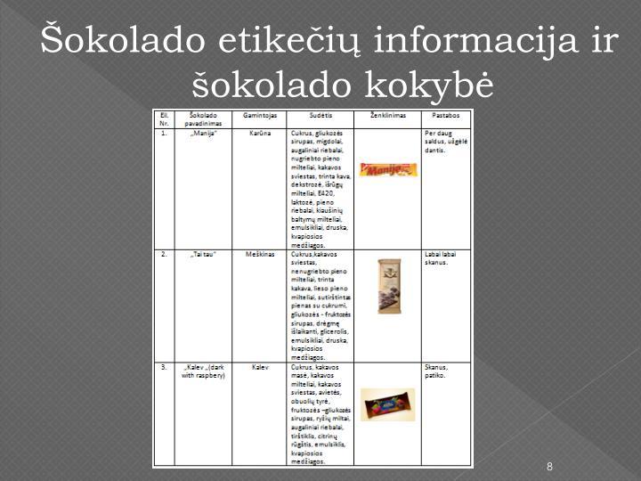 Šokolado etikečių informacija ir šokolado kokybė