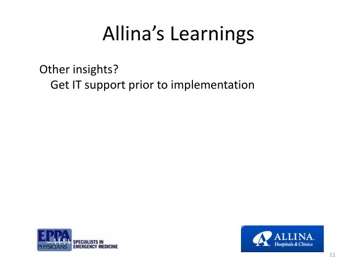 Allina's Learnings