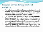 research service development and evaluation
