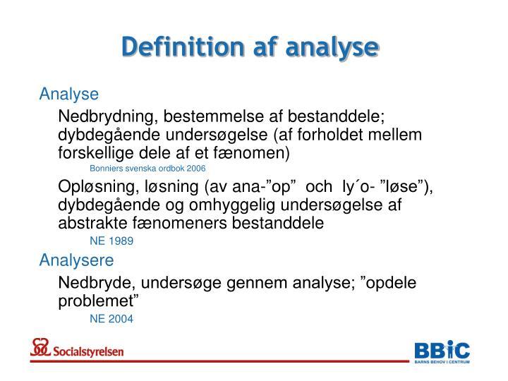 Definition af analyse