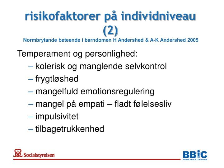risikofaktorer på individniveau (2)