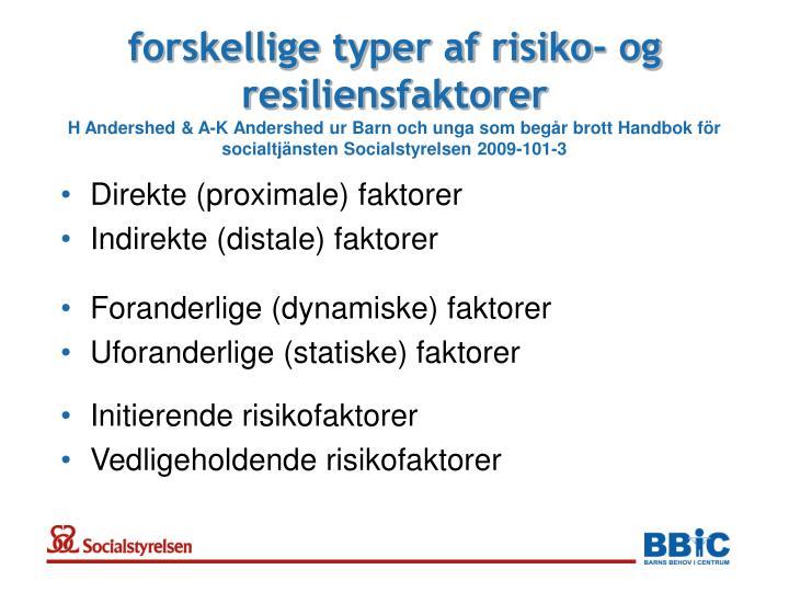 forskellige typer af risiko- og resiliensfaktorer